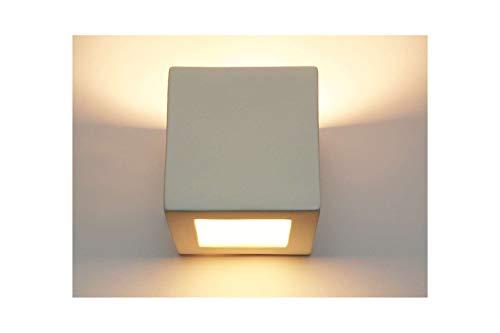 Wandlampe Wandleuchte Wandbeleuchtung Lampe Leuchte Gipslampe Gipsleuchte Keramik Cube Würfel Weiß mit Zusatzscheibe Glasscheibe für oben bemalbar E27 für Innen Kubik 1210
