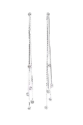 TININNA Pendientes Elegante para Mujer, Cristalino de Larga Borla Pendientes Gancho Pendientes de Diamantes de Imitación de Cristal del Oído de Las Mujeres de Regalo de la joyería-Plata