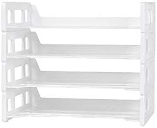 MIYU طبقتان / مجموعة صينية ملف أبيض منظم للمكتب بلاستيك حامل للكتب وحامل المجلة A4 صينية ورقية لتنظيم المكتب