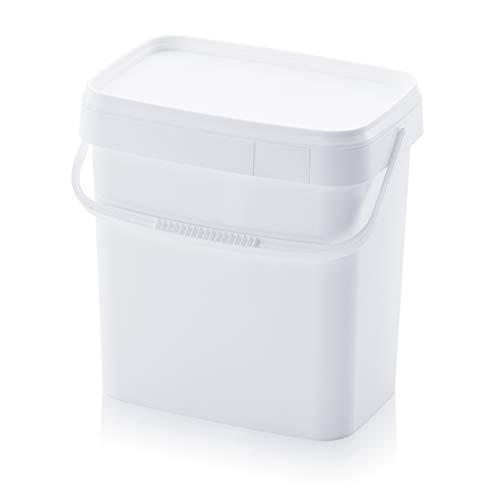 Eimer 10,3l rechteckig * 10l * lebensmittelecht stapelbar Kunststoffeimer 10 Liter weiß 10Liter