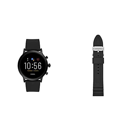 Fossil Smartwatch Gen 5 para Hombre con Pantalla táctil, Altavoz, frecuencia cardíaca, GPS, NFC y notificaciones smartwatch, Silicona Negra + Correa para Reloj S221304, Negro