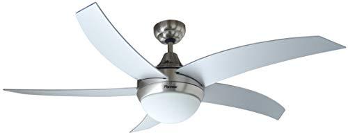 Bestron DCF52LSR - Ventilador de techo con iluminación, 60 W, 220 V, color plateado y gris