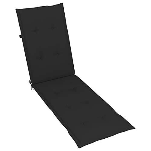 vidaXL Liegestuhl Auflage Liegenauflage Stuhlauflage Deckchair Sonnenliege Liege Kissen Polster Polsterauflage Schwarz (75+105) x50x4cm