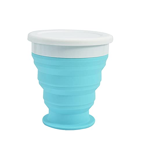 Silicone Foldable Cup, Collapsible Travel Mugs, Folding Silicone Cups with Plastic Sealing Lid, Reusable Portable Cup Set for Picnic, Camping, Outdoor Hiking Travel