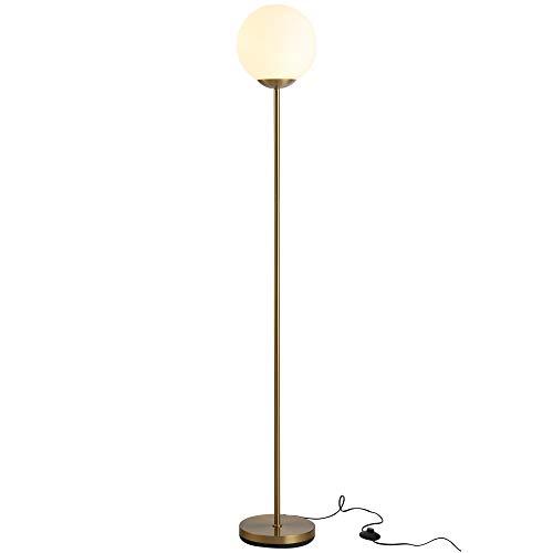 HOMCOM Stehlampe für Wohnzimmer, Standleuchte, Stehlampe, Metall mit Glas, Golden, 25 x 25 x 171 cm