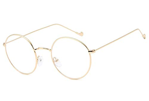 NAVARCH Brillenfassung Vintage Unisex Metall Frame Runde Brille Retro Metall Klare Linse Brille, Schwarz, Golden, Silbern Farbe Brillen Ohne Sehstärke