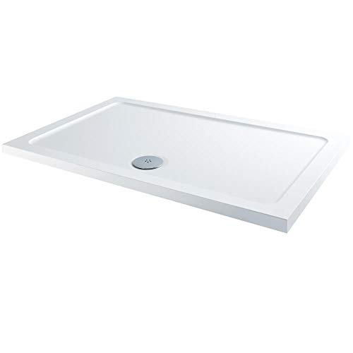 Milano Lithic – White Low Profile Rectangular Shower Tray – 900mm x 760mm