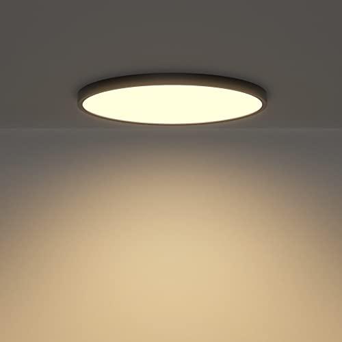 Klighten Led Deckenleuchte Flach Rund, 28W 2520LM Deckenlampe Modern Deckenbeleuchtung für Wohnzimmer, Schlafzimmer, Flur, Küche, Ø30cm × H2cm, Warmweiß 3000K, Schwarz