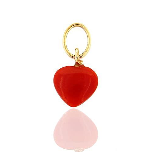 Colgante unisex corazón rojo de coral