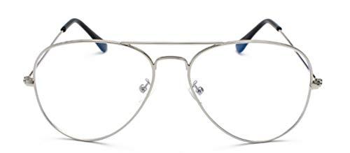 MIGOO Unisex Vintage Pilotenbrille Blaulichtfilter Metall Rahmen Retro Brillenfassungen Lesung Gläser Dekor Mode Geek/Nerd Brille