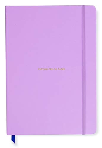Kate Spade New York Take Note XL Vegan Leather Notebook, Bound Journal Includes 168 Lined Pages, Putting Pen to Paper (Purple)