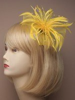 Large Flower Design Fascinator With Looped Netting And Feathers On Forked Clip-Yellow
