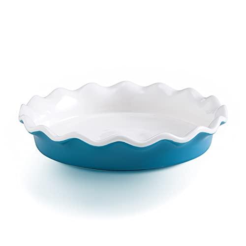 Ceramic Pie Pan, 10 inch Pie Dish Pie Plates, Round Quiche Pan Baking Dish for Pot Pies Cake Pizza Dessert, Blue, SIDUCAL