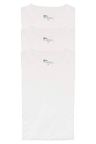 Maracheno T-Shirts, Extralang und Übergröße bis 9XL, 3er Packs, Schwarz, Weiß, Blau, Grau (Weiß, 3er Pack, 9XL)