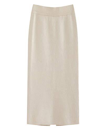 Mujer Lápiz Falda de Punto Cintura Alta Dobladillo Dividido Otoño Invierno Midi Larga Tubo Faldas Beige