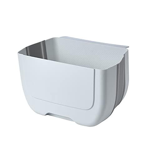 Belleashy Papelera plegable de 5 l, plegable, para colgar en la cocina, el baño, el inodoro (tamaño: 25 x 15 x 8,5 cm, color: blanco)