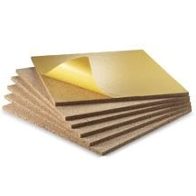 WIDGETCO 1/2 inch Self-Adhesive Cork Wall Tile Squares (6 Pack)