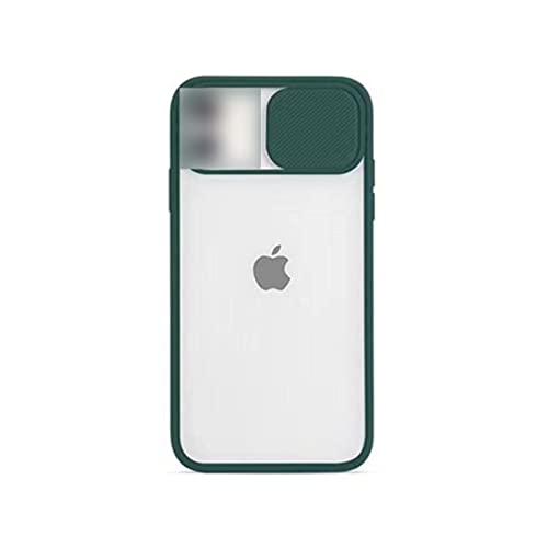 Custodia morbida compatibile per iPhone 6/7/8 con custodia protettiva per obiettivo della fotocamera scorrevole, custodia sottile in silicone TPU traslucido compatibile con iPhone 6/7/8 - verde