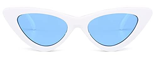 Gafas De Sollindo Sexy Retro Cat Eye Gafas De Sol Mujeres Pequeño Negro Blanco TriánguloVintage Gafas De Sol Rojo Mujer Uv400 Whiteblue