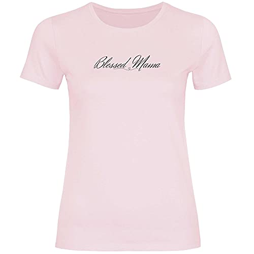 Print Dynastie Camiseta para Mujer Mama Mum Mommy Gift Idea Family Amor de mamá Niño Abuela Materna, Tamaño:M, Color:Blessed Mama Orchid Pink