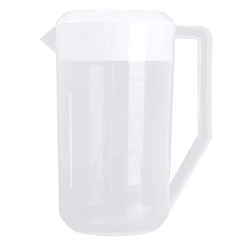 YOOJIA 2500ML Grosser Krug mit Deckel Kunststoff Wasserkrug Wasserkaraffe Messbecher Transparent Kanne für Kalwasser Eistee Bier Weiss 2500ML