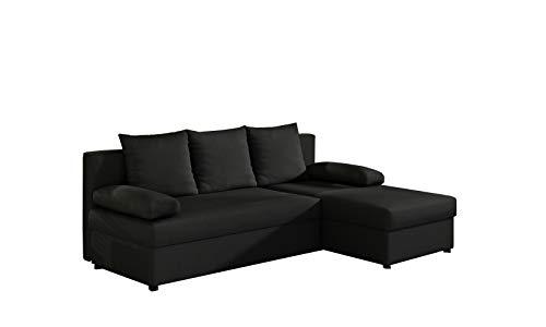 MOEBLO Ecksofa mit Schlaffunktion mit Bettkasten Couch L-Form Polstergarnitur Wohnlandschaft Polstersofa mit Ottomane Couchgranitur - ARON (Schwarz (Sawana 14), Ecksofa Rechts)