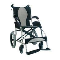 New Karman Ergo (S-2501F18SS-TP) Lite Ultra Lightweight Ergonomic Transport Wheelchair with Companion Hill Brakes in Silver, Fixed Wheel, 18' Seat Width & Free Wheelchair Seatbelt!