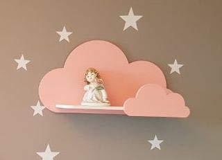Happy Woody Wolken-Wandregal für Kinderzimmer/Holzregal/Babyzimmer-Dekor/Kinderzimmer-Dekoration/Kinderzimmer-Wanddekoration (Pink)