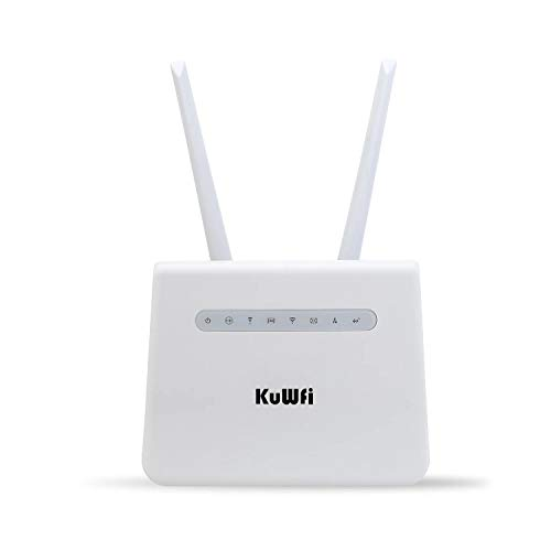 KuWFi Wireless Internet Router 300Mbps Long Range 4G LTE Router with SIM Card Slot Dual Antenna Wireless Hotspot WiFi Devices Support B1 / B3 / B7 / B8 / B20[Not for USA]