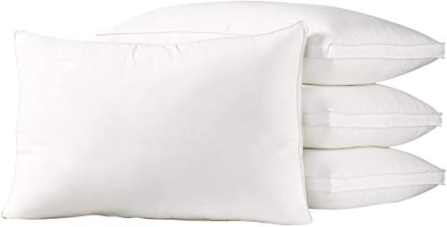 Ella Jayne Home King Size Bed Pillows- 4 Pack White Hotel Pillows- Gel Fiber Filled Firm Gel Pillows with Hypoallergenic Gusset Cover- Best Pillow for Side Sleepers & Back Sleepers
