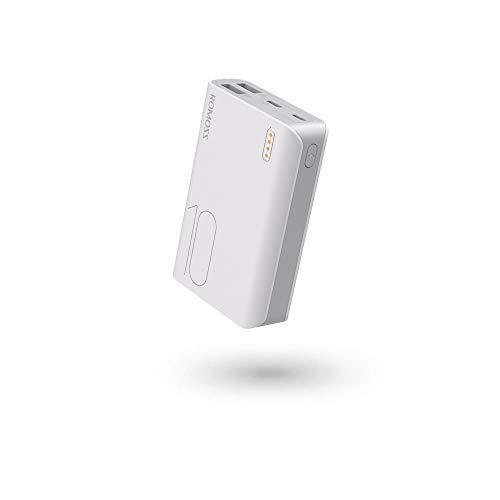 ROMOSS Power bank 10000mah Caricabatterie Portatile 2 Ingressi (2.1A+1A) Batteria Esterna Portatile con LED Indicatore Backup Batteria compatibile con Smartphone,Tablets e Altro (Bianca)
