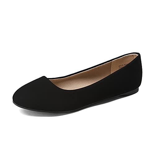 DREAM PAIRS Women s Sole-Simple Black Nubuck Ballerina Walking Flats Shoes - 8.5 M US