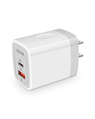 AILKIN - Cargador de pared USB C, cargador de pared USB C, adaptador de corriente de carga tipo PD C de 20 W, estación de carga USB-C para iPhone 13 12 11 Pro Max Mini SE 10 X XR XS 8 Plus, Samsung Galaxy 21 en caja