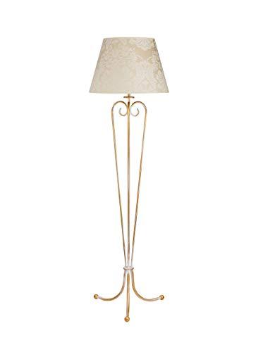Wohnzimmer Stehlampe GANARA Stoff Schirm mit Barock Muster in Shabby Gold Ecru 158cm Stehleuchte