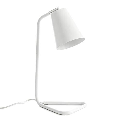 Kenay Home Salón Sobremesa Blanca Mesita de Noche Escritorio Lámpara Recibidor Zig Colección Basic, 25x20x41cm (WxDxH)