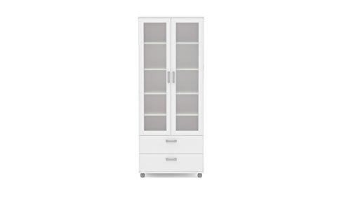 Polifurniture Livramento Bookcase, 2 Glass Doors & 2 Drawers, White