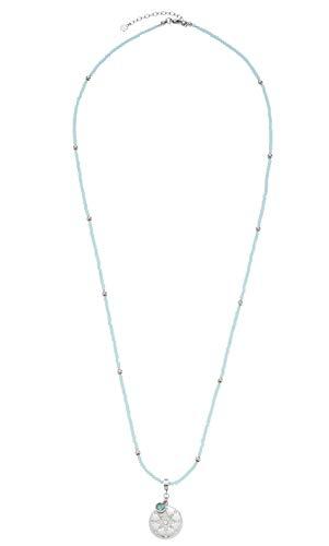 JEWELS BY LEONARDO Damen-Halskette Marittimo, Edelstahl mit hellblauen Schliff-Glasperlen, mit Karabinerverschluss, Länge 800 mm, 016835