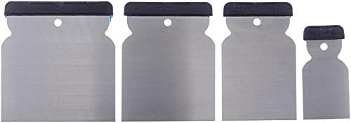 Werkzeyt Japanspachtel-Satz 4-teilig-50 mm, 80 mm, 100 mm und 120 mm-Blatt aus Federbandstahl-Säurefest und Flexibel-Zum Verfüllen und Glätten / Spachtel Made in Germany / Flächenspachtel / B27384