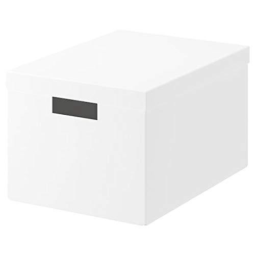 BestOnlineDeals01 TJENA Caja de almacenamiento con tapa, blanco, 25x35x20 cm para niños y uso doméstico. Cajas y cestas para niños, cajas de almacenamiento y cestas. Almacenamiento y organización. Respetuoso con el medio ambiente.