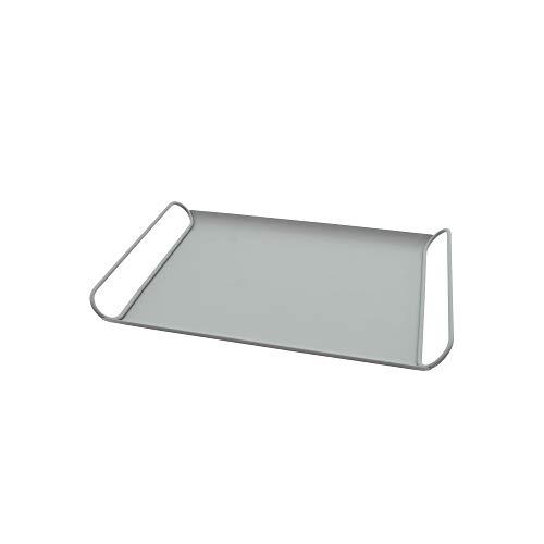 Point-Virgule Bandeja para servir de metal con asas, moderna bandeja decorativa para cocina, color verde salvia satinado, 37,5 x 25,5 x 4 cm