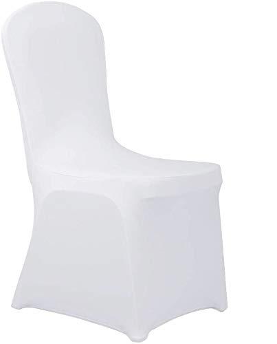 femor Stuhlhussen, universell Stretch Stuhlbezüge, 40 Stück Weiß Stuhlbezug, Moderne Stuhl Abdeckung Stuhlüberzug für Bankett Deko, Hochzeiten und Feiern, sehr pflegeleicht und langlebig