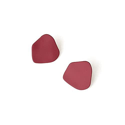 XKMY Pendientes de regalo para mujeres y mujeres coreanas con orejas pintadas retro irregulares pendientes de media declaración (color metálico: rojo)