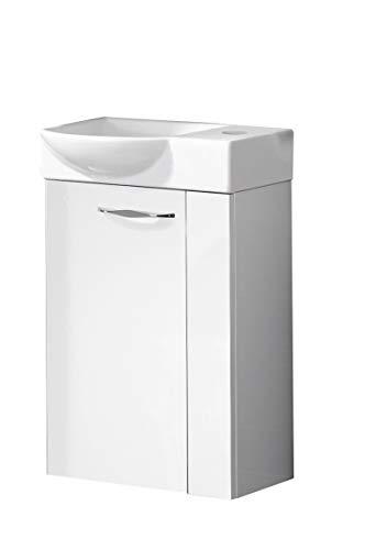 FACKELMANN SCENO Gäste WC Set Links 2 Teile/Keramik Waschbecken/Waschbeckenunterschrank mit 1 Tür/Soft-Close/Türanschlag Links/Korpus: Weiß/Front: Weiß/Blende: Weiß/Breite: 45 cm