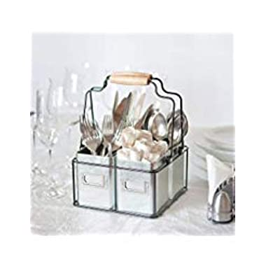 Kenley Galvanized Tin Caddy - Utensil Holder Organizer for Kids & Art Supplies, Kitchen Silverware, Napkins, Flatware, Condiments - Farmhouse Vintage Rustic Décor Picnic Tray with Handles & Metal Bins