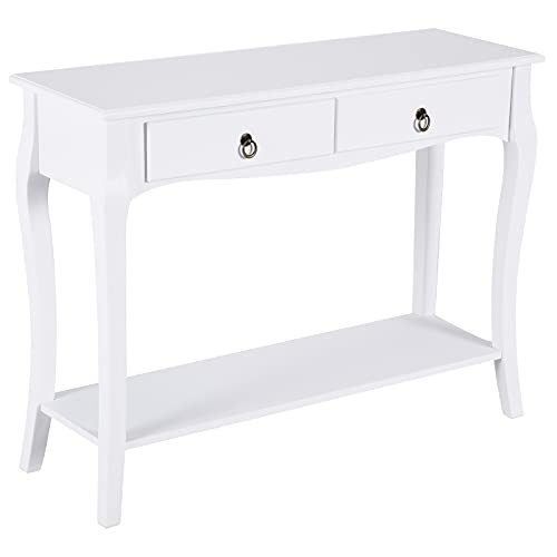 HOMCOM Mesa Consola Aparador Salón Comedor Mueble Recibidor Mesa Auxiliar con Cajones y Estante Diseño Elegante 100x33x75cm Madera Color Blanco Brillo