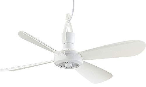 Mini ventilador de techo portátil Brandsseller de aprox. 40 cm de diámetro, incluye gancho de techo y enchufe europeo., Blanco