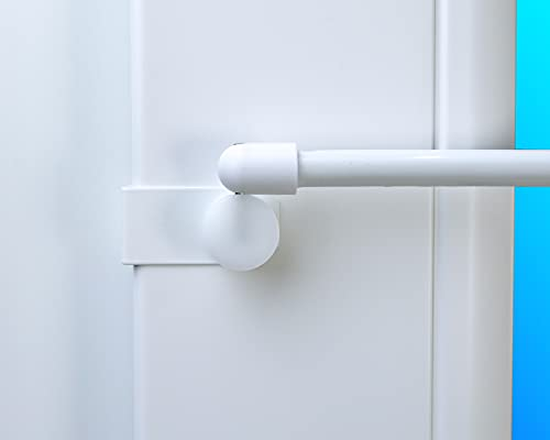 Dekondo, Ganci decorativi per bastone per tende, 2 pezzi, per vetrine, tendine, colore: bianco, da fissare sia lateralmente che in alto, Metallo, bianco, 15-20mm Fensterdicke