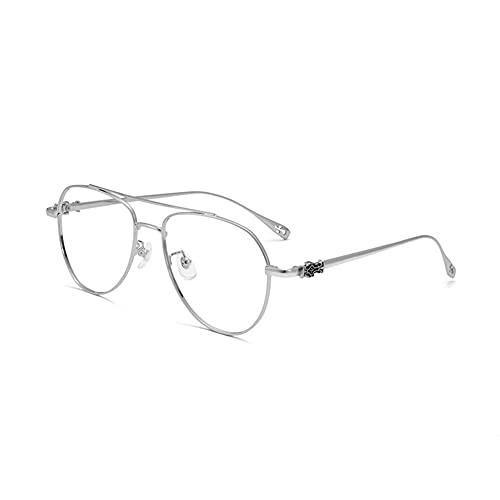 EYEphd Gafas de Lectura multifocales progresivas Retro de Titanio Puro,Lector de luz Anti-Azul con Lente de Resina asférica 1.56 Aumento +1.0 a +3.0,Plata,+3.0