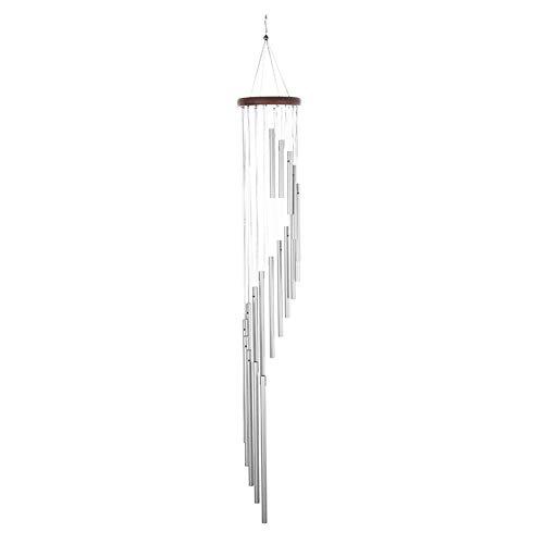 Bodhi2000 Carillon à vent en bois massif et 18 tubes en alliage d'aluminium 36 cm Grand carillon argenté pour fête, jardin, décoration, cadeau, etc.