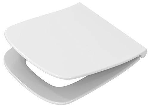 Toilettendeckel / WC – Sitz Renova Nr. 1 Plan | mit Deckel, verchromte Scharniere aus Messing, mit Absenkautomatik | Material: Duroplast, Form: gerade Deckelform, Breite: 367 mm, Tiefe: 447 mm